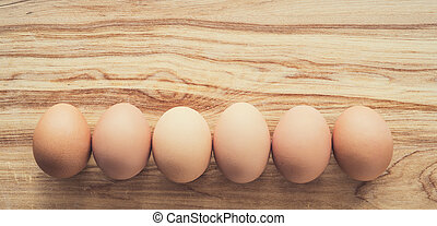 Organic eggs, clean eating concept, colorised image