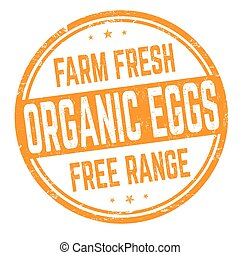 Organic eggs sign or stamp