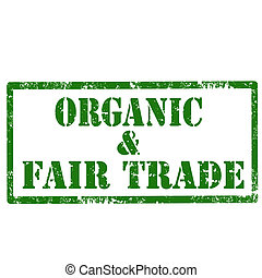 Organic & Fair Trade-stamp - Grunge rubber stamp with text...