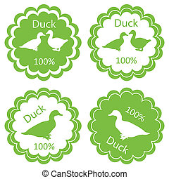 Organic farm and forest goose and duck meat food labels...