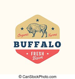 Organic Farm Butchery Abstract Vector Sign, Symbol or Logo ...