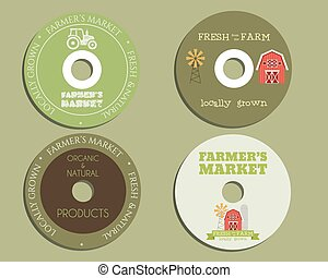 Organic farm CD, DVD templates. sign, icon. Compact, disc, symbol. For natural shop products and other bio, organic business. Ecology theme. Eco design. Easy to customize. Vector.