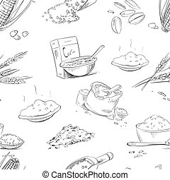 Organic farm grains, cereals, wheat, barley, rye, oats, rice vector seamless pattern