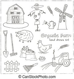 Organic farm hand drawn decorative icons set