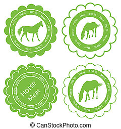 Organic farm horse meat food labels illustration collection