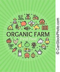 Organic Farm Signs Round Design Template Thin Line Icon Concept. Vector