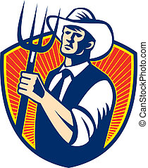 Illustration of cowboy organic farmer with pitchfork facing front set inside shield done in retro woodcut style