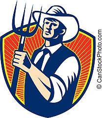 Organic Farmer Farm Pitchfork Retro - Illustration of cowboy...