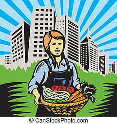 Organic Farmer Farm Produce Harvest - Illustration of woman...