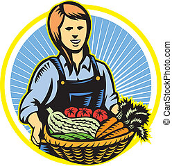 Illustration of female organic farmer with basket of crop produce harvest fruits vegetables facing front set inside circle done in retro wpa woodcut style.