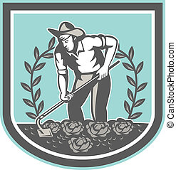 Organic Farmer Grab Hoe Plant Shield - Illustration of male...