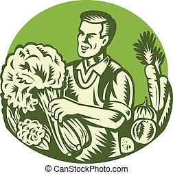 Organic Farmer Green Grocer Vegetable Retro - Illustration...
