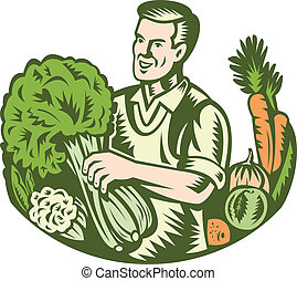 Illustration of an organic farmer green grocer with leafy green vegetables crop farm harvest done in retro wooduct style.