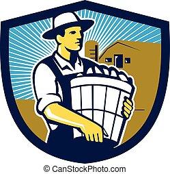 Organic Farmer Harvest Basket Crest Retro - Illustration of...