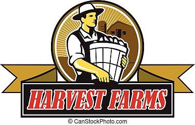 Organic Farmer Harvest Farms Circle Retro