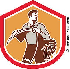 Organic Farmer Holding Scythe Wheat Shield - Illustration of...