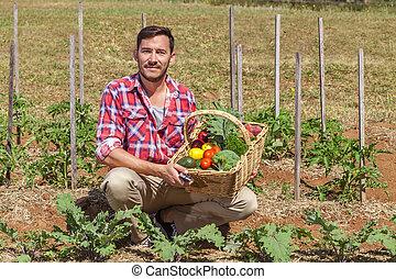 Organic Farmer - Organic farmer with fresh fruit and...