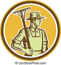 Organic Farmer Rake Woodcut Retro