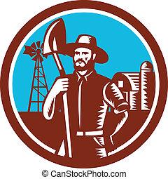 Organic Farmer Shovel Windmill Woodcut Retro