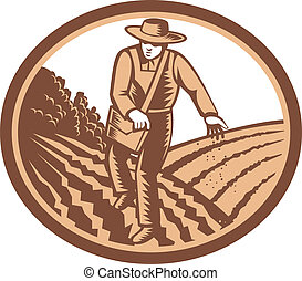 Illustration of organic farmer with satchel bag sowng seeds in farm field set inside oval shape done in retro woodcut style.