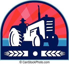 Organic Farmer Tractor Wheat Crest Retro