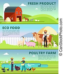 Organic farming and agribusiness banners with cartoon farmer characters and farm animals vector set