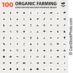 Organic farming icons set