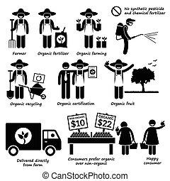 Organic Farming - A set of human pictogram representing...