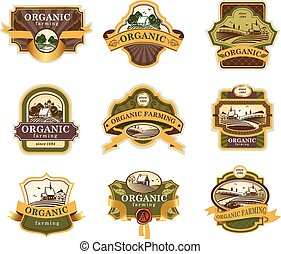 Organic farming lables - Vector lables for Organic farming ...