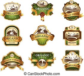 Organic farming lables - Vector lables for Organic farming...