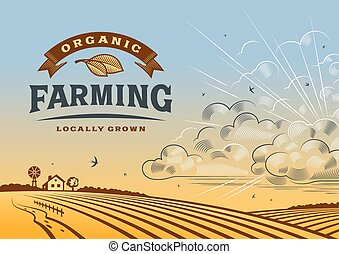 Organic Farming Landscape - Vintage organic farming label...