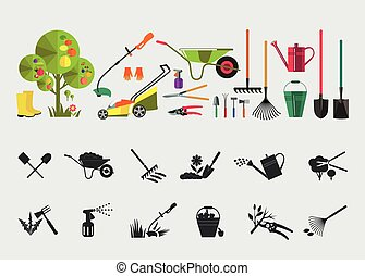 Organic farming. Tools for working in the garden and kailyard. Adaptations for planting, digging ground, irrigation, fertilizer, spraying, weed control, harvesting in the garden.