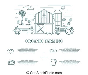 Organic farming vector illustration in linear style