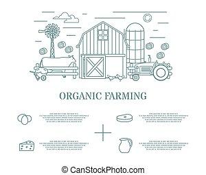 Organic farming vector illustration in linear style