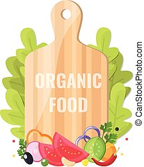 Organic food banner. Natural vegetables with cutting board.