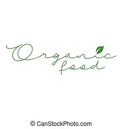 Organic food calligraphy- Vegetarian food safety logo with green leaves