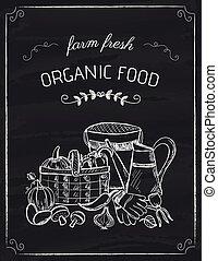 Organic food doodle on the black board