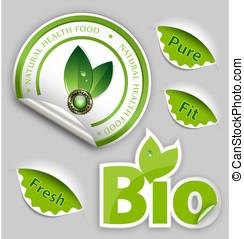 Organic Food, Eco, Bio Labels and Elements
