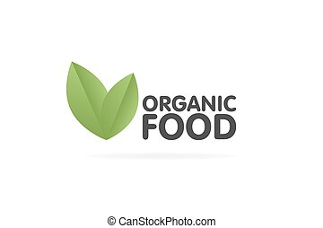 Organic food eco green leaf label sticker. Vector Illustration