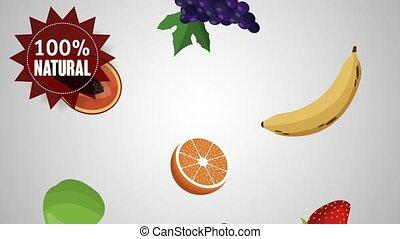organic food fruits HD animation - organic food fruits label...