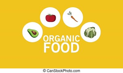 Organic food icons HD animation - Organic fruits and...
