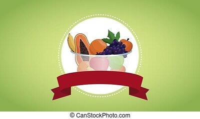 Organic food in bowl HD animation - Organic food in bowl...