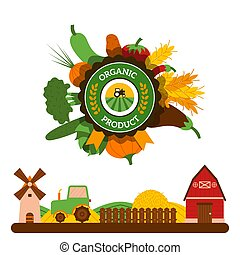 Organic food label, agriculture barn, tractor, vegetables, ...