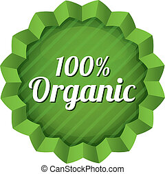 Organic food label, tag. Ecological green sticker.