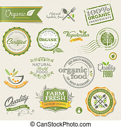 Organic food labels and elements - Set of vector labels and ...