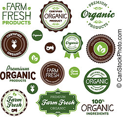Organic food labels - Set of organic and farm fresh food...