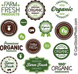 Organic food labels - Set of organic and farm fresh food...