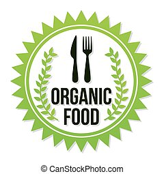 organic food letters with a fork and knife in the center on seal stamp