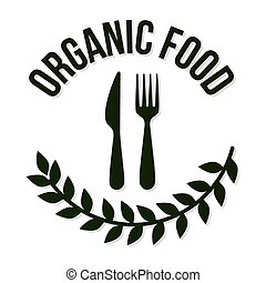 organic food letters with a fork and knife in the center
