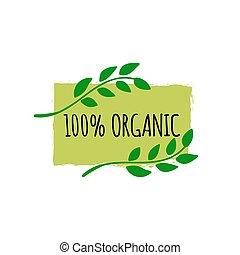 Organic food logo. Hand drawn vegan badge. Bio food logo or sign